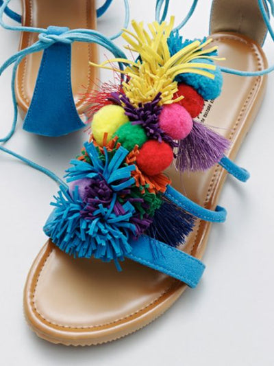 Pompom Fringe Lace Up Sandals-Ametsuchi