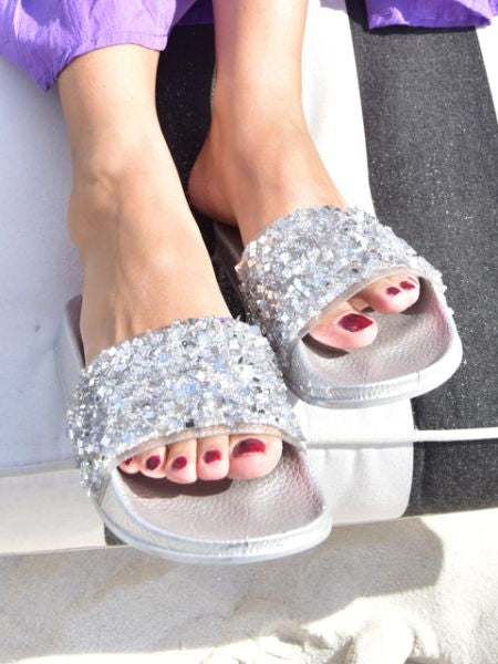 Glitter slide sandals -Shoes-Ametsuchi
