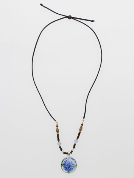Flower Pattern Glass Beads Necklace-Ametsuchi