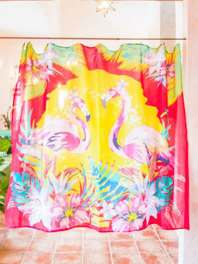 Flamingo x Flower Wandbehang Tapisserie Stoff-Home Decor-Ametsuchi