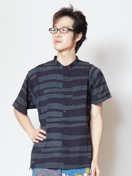 Wamon Men's Band Collar Shirt -Shirts-Ametsuchi