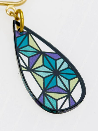 Hemp Stained Glass Inspired Earrings-Earrings-Ametsuchi