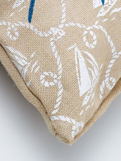 Jute Zipperred Cushion Cover-Cushion Covers-Ametsuchi