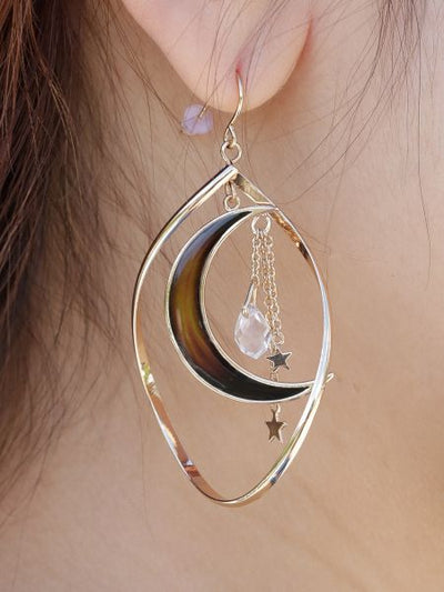 Aura Crescent Moon Earrings-Ametsuchi
