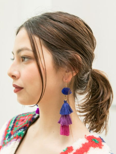Ponpom Asymmetric Earrings-Ametsuchi
