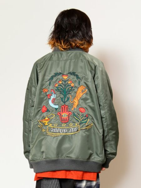 Folklore Embroidered Back Men's MA-1 Style Jacket-Ametsuchi