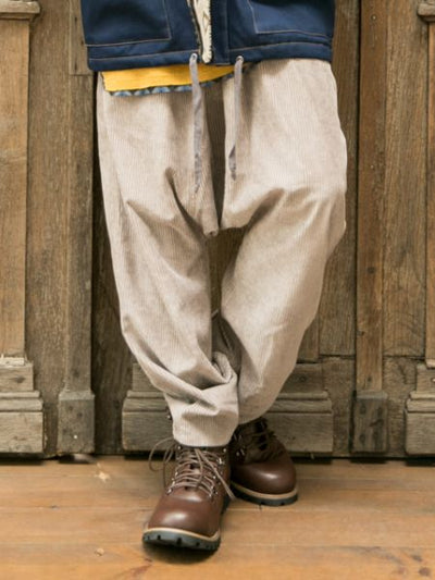 Corduroy Men's Pants with Plaid Patchwork-Ametsuchi