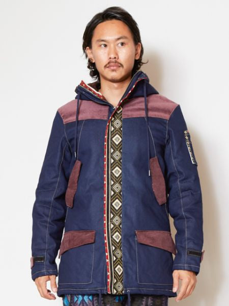 Stretch Denim Men's Nomad Hoodie Jacket-Ametsuchi