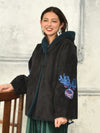 Faux Mouton Hoodie Jacket with Oriental Flower Embroidery-Ametsuchi