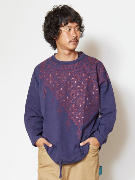 Cross Stitch Embroidered Long Sleeve T Shirt-Ametsuchi