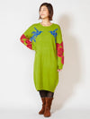Colorful Dolman Sleeve Knitted Kaftan Dress-Ametsuchi
