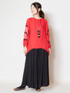 Embroidered Blouse with Volume Sleeve-Ametsuchi