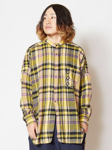 Soft Brushed Plaid Shirt with Embroidered Chest Pocket-Ametsuchi