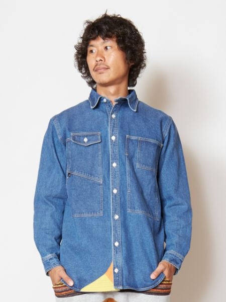 Denim Work Shirt with Embroidered Back-Ametsuchi