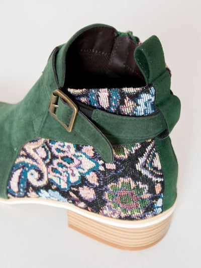 Gobelin Fabric Style Floral Short Boots-Shoes-Ametsuchi