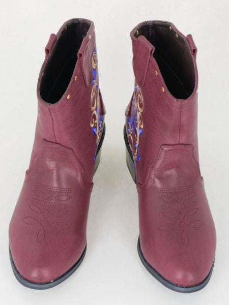 Flower Embroidered Short Cowboy Boots-Ametsuchi