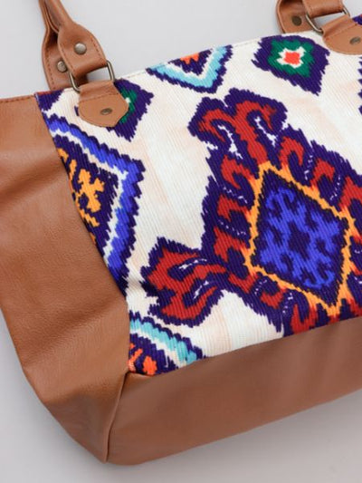 Turkish Kilim Style Printed Tote Bag-Ametsuchi