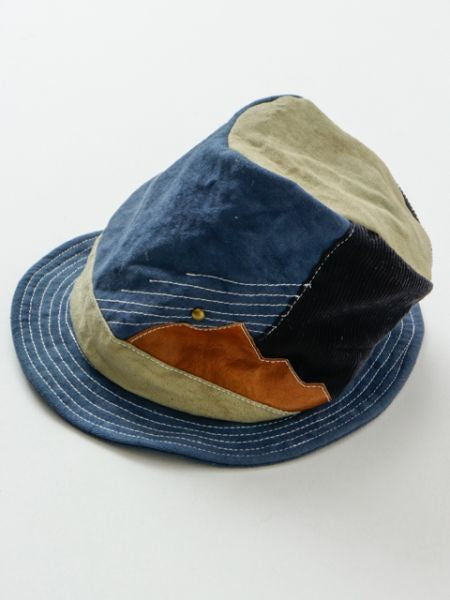 Vintage Leather Patchworked Hat-Ametsuchi