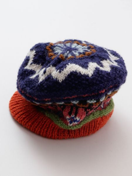 Hand Knitted Colorful Baker Cap