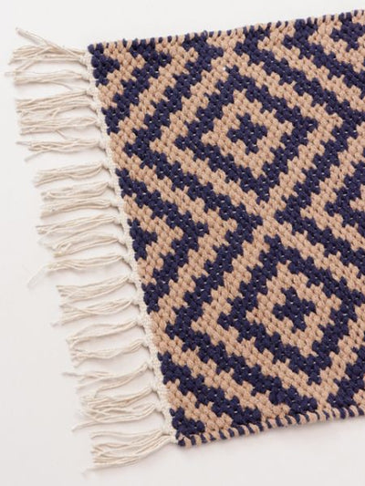 Handwoven Geometric Pattern Placemat-Kitchen Goods-Ametsuchi