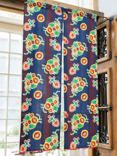 Mexican Flower NOREN Door Curtain-Ametsuchi