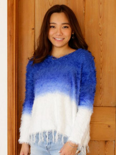 Gradient Shaggy Knit Top with Fringe-Ametsuchi