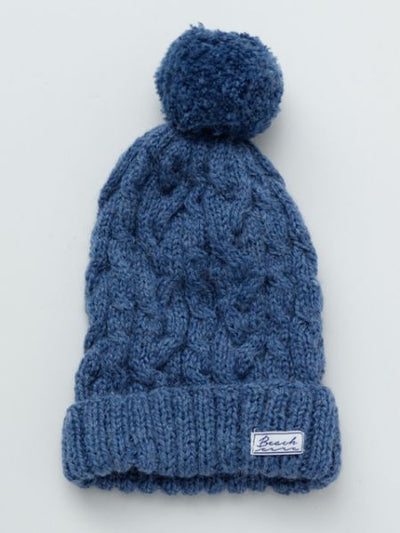 Cable Knitted Beanie with Pompom-Ametsuchi