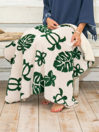 Monstera & Honu Throw S Size-Bed Linens-Ametsuchi