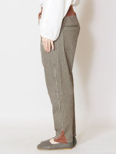 Striped Stretchable Pants-Pants & Shorts-Ametsuchi