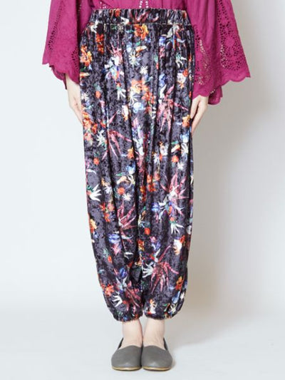 Velour Harem Pants with Star / Flower Print-Ametsuchi