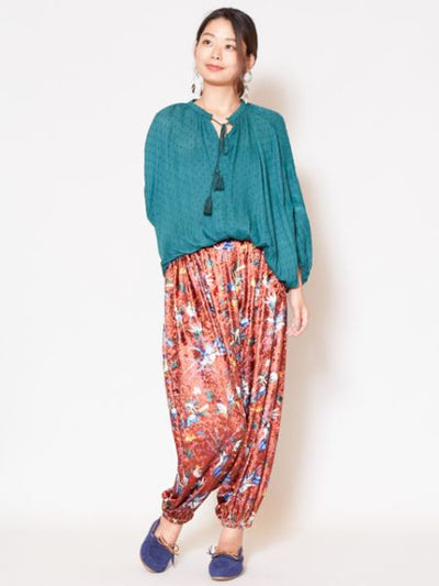 Velour Harem Pants dengan Star / Flower Print-Pants & Shorts-Ametsuchi