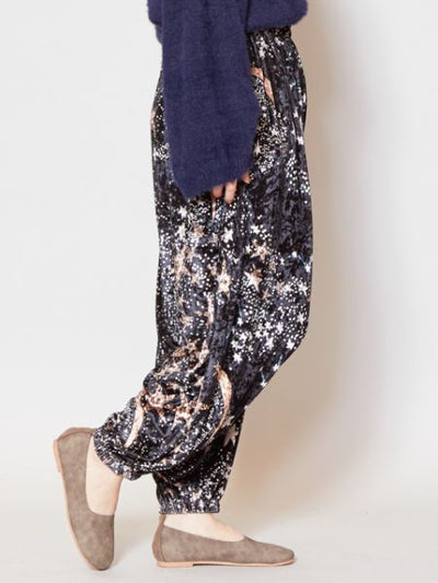 Velour Harem Pants with Star/Flower Print-Pants & Shorts-Ametsuchi
