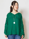 Floral Stitched Blouse with Wide Sleeve-Ametsuchi