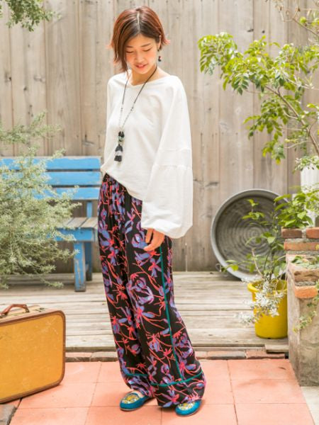 Folklore Pattern Printed Wide Leg Pants