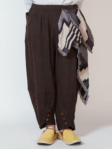 Brushed Back Sweat Harem Pants with Geometrical Pattern Scarf