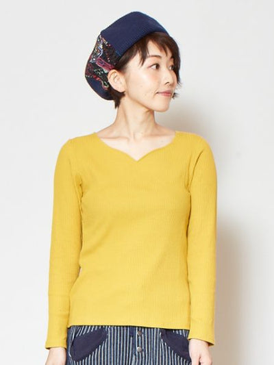 Ribbed Cotton Top with Long Sleeve-T-shirts & Cutsew-Ametsuchi