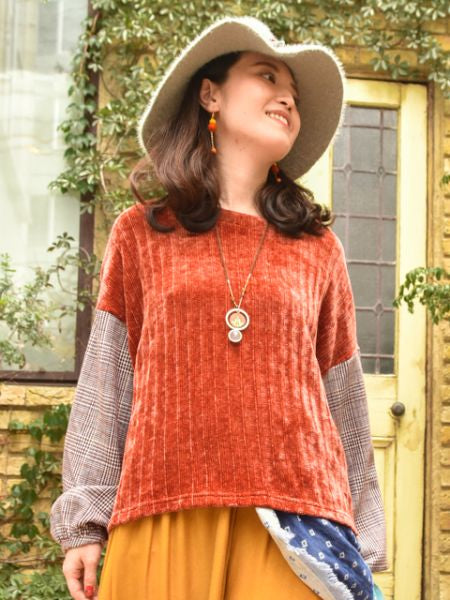 Knit and Sew Top with Volume Sleeve