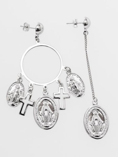 Anting Guadalupe & Cross Asymmetric -Earrings-Ametsuchi