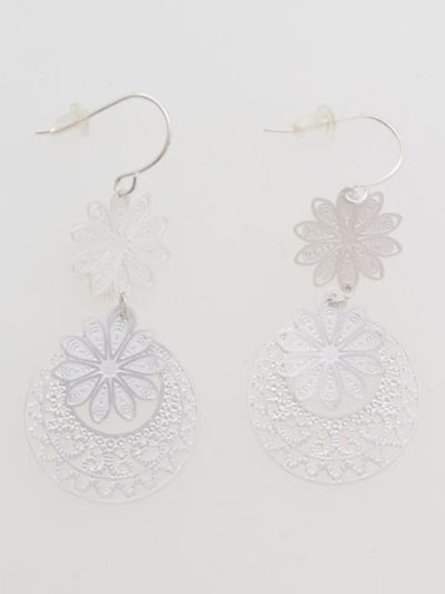 Openwork Metal Flower Earrings -Earrings-Ametsuchi