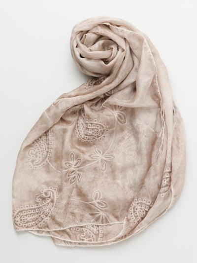 Paisley Embroidered Stole-Scarves-Ametsuchi
