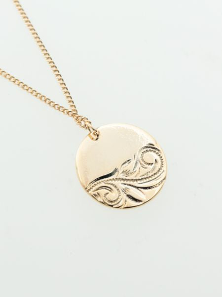Hawaiian Motif Engraved Metal Necklace-Ametsuchi