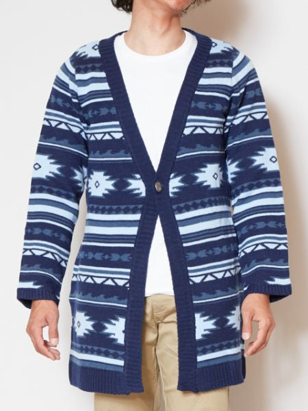 Ocean Navajo Knitted Cardigan-Cardigans & Outerwear-Ametsuchi