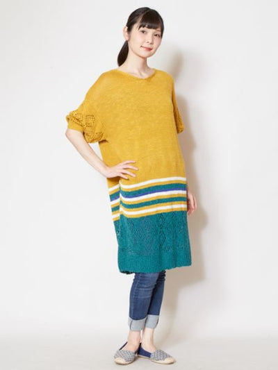Spring Flower Color Knitted One Piece Dress-Ametsuchi