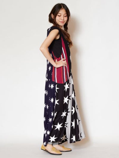 Star V Neck Sleeveless Maxi Dress-Dresses-Ametsuchi