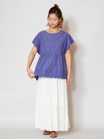 Plain Crepe Tiered Maxi Skirt-Ametsuchi