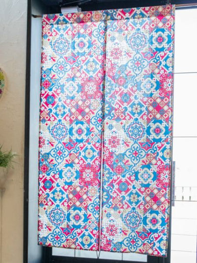 Majolica Tile Pattern NOREN Door Curtain-Ametsuchi