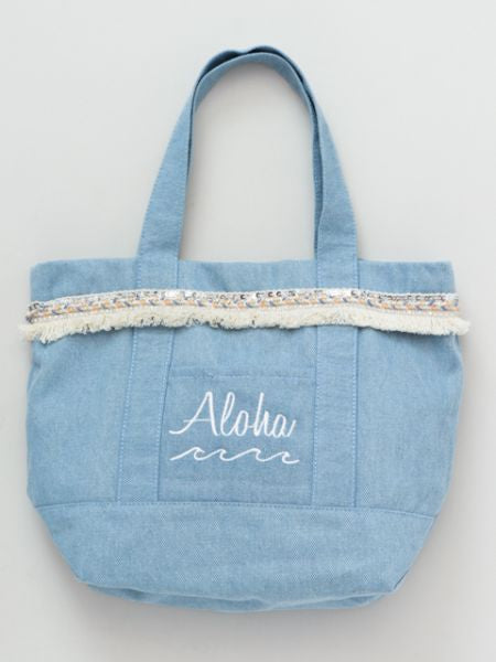 Aloha Wave Denim Tote Bag