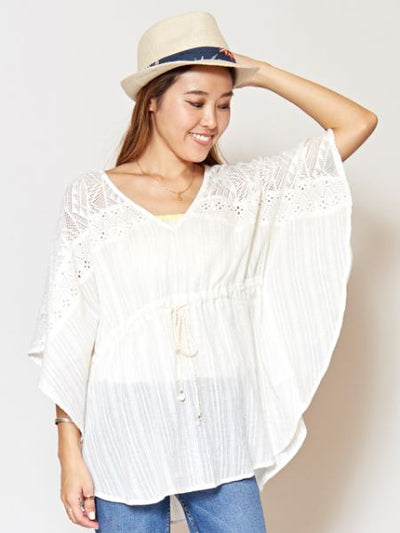 Cotton Lace Butterfly Sleeve Top-Ametsuchi