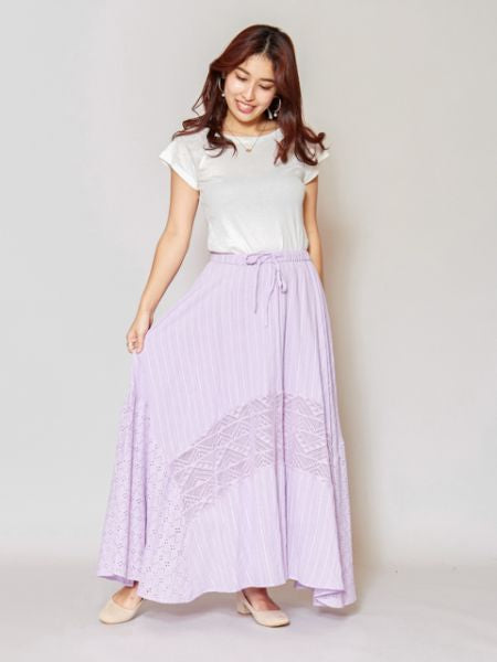 Lace x Cotton Dobby Maxi Skirt