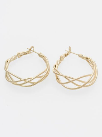 Metal Wire Hoop Earrings-Ametsuchi